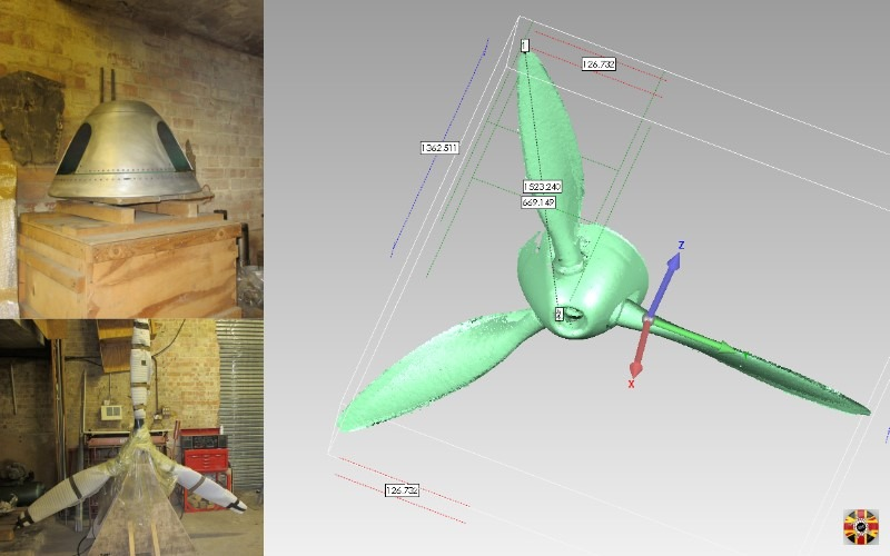 Messerschmitt ME109 World War 2 fighter plane propeller point cloud from a 3D laser scan. Scan process took less than a day.