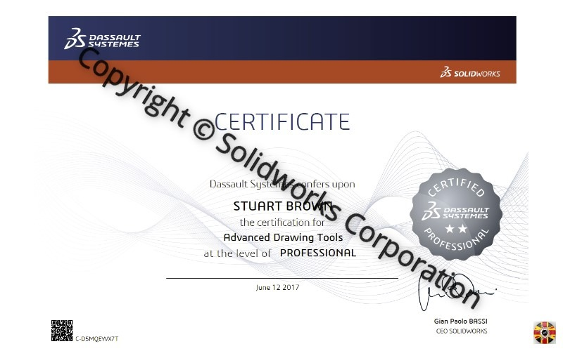 Stuart Brown of 3D Engineers passes Certified Solidworks Advanced Drawing Tools Professional exam. Stepping stone to tougher examinations.