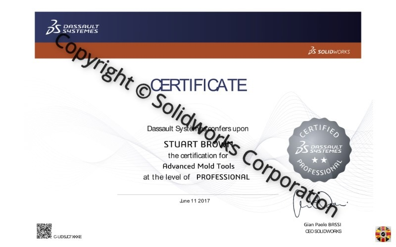 Stuart Brown of 3D Engineers passes Certified Solidworks Advanced Mold Tools Professional exam. Stepping stone to tougher examinations.