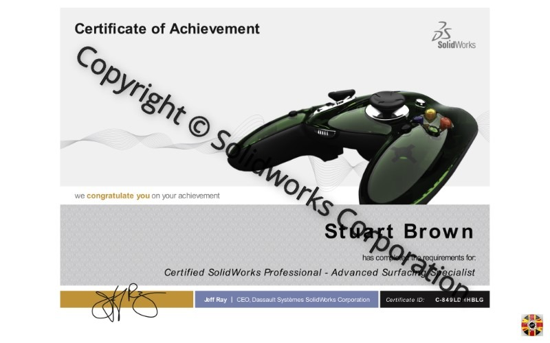 Stuart Brown of 3D Engineers passes Certified Solidworks Advanced Surfacing Specialist exam. Stepping stone to tougher examinations.