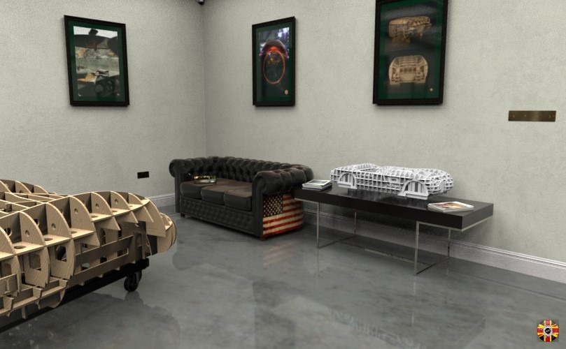 3D Engineers virtual room created in CG. Shows Lister Costin full size and model Jaguar C-Type bucks. Furniture is Chesterfield 3D sofa.